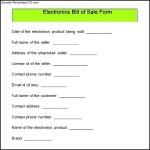 Sample Electronics Bill of Sale Form