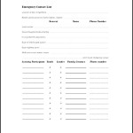 Sample Emergency Contact List Template