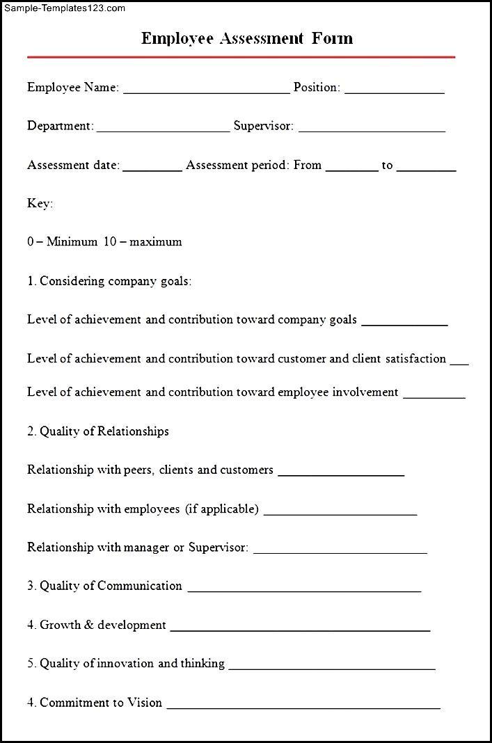 Sample Employee essment Form - Sample Templates - Sample ... on