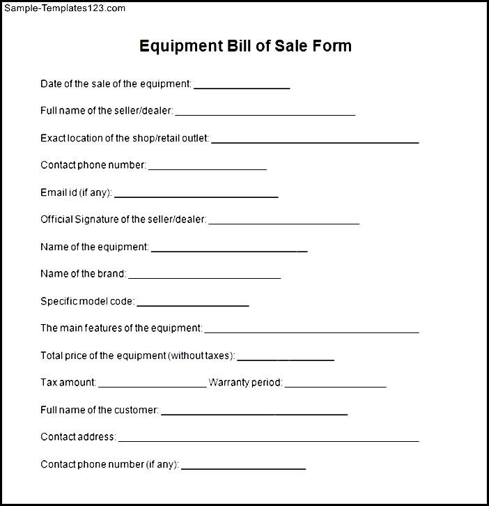 Equipment Bill of Sale