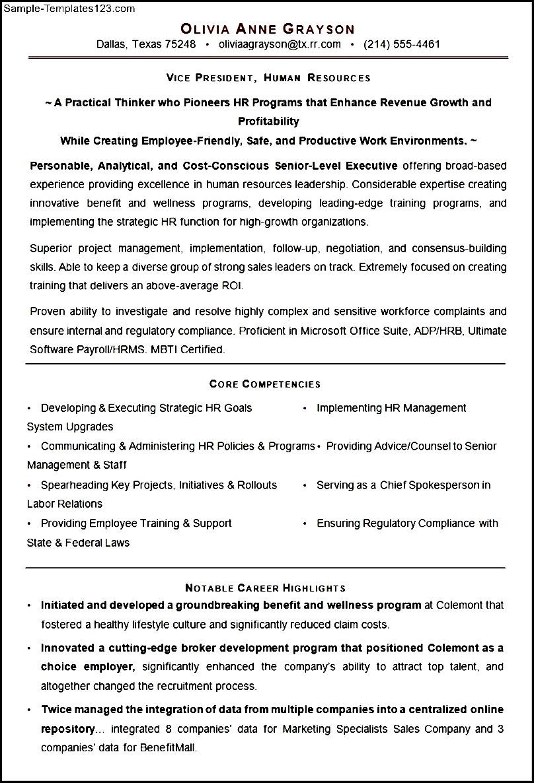 hr executive resume sample