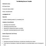 Sample Free Marketing Resume Template