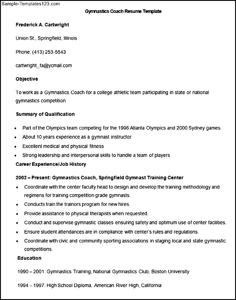 sample gymnastics coach resume template - Gymnastics Coach Resume