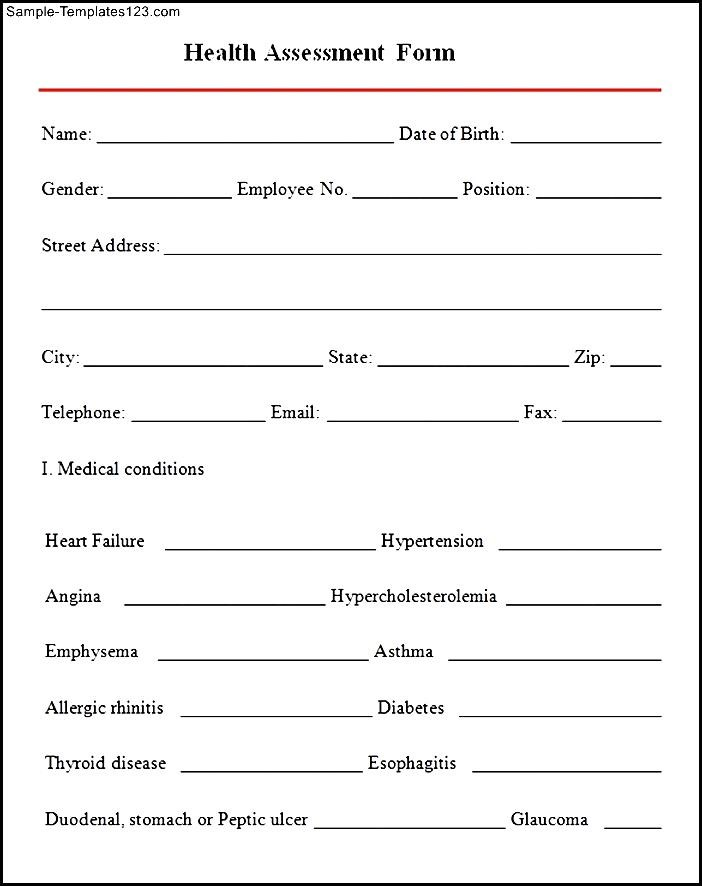 Sample Health Assessment Form - Sample Templates - Sample Templates