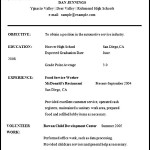 Sample High School Student Resume Word