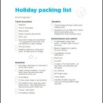 Sample Holiday Packing List Template