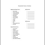Sample Household Chore List