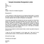 Sample Immediate Notice Resignation Letter