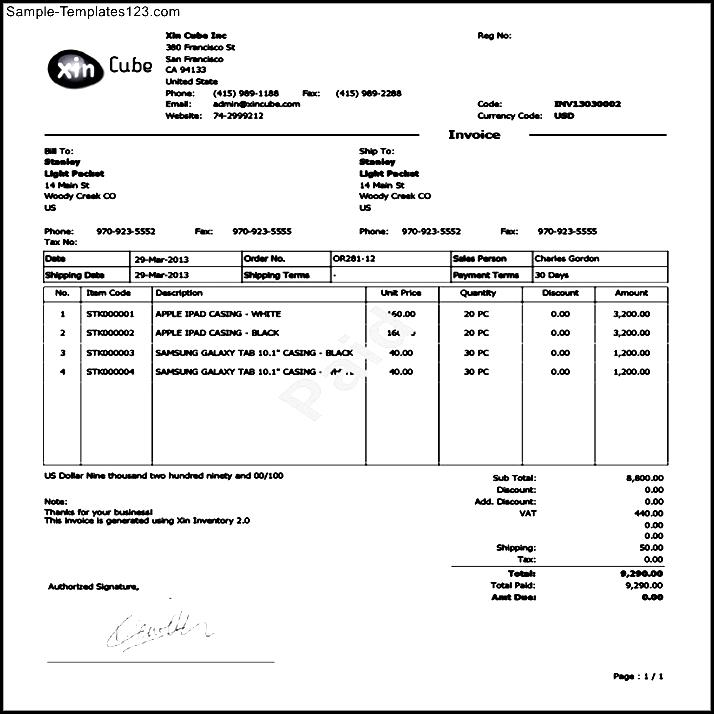 Sample Invoice PDF Sample Templates Sample Templates - Sample invoice for tree removal