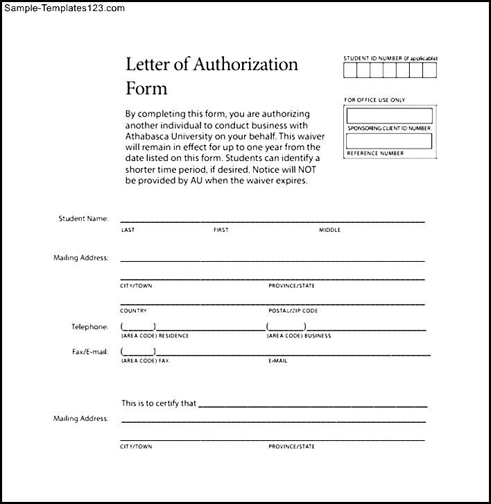Sample Letter Authorization Form - Sample Templates - Sample Templates