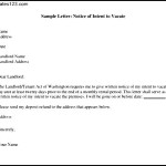Sample Letter Notice of Intent to Vacate PDF Format