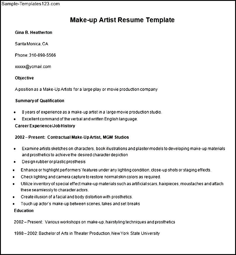 sample make up artist resume template sample templates
