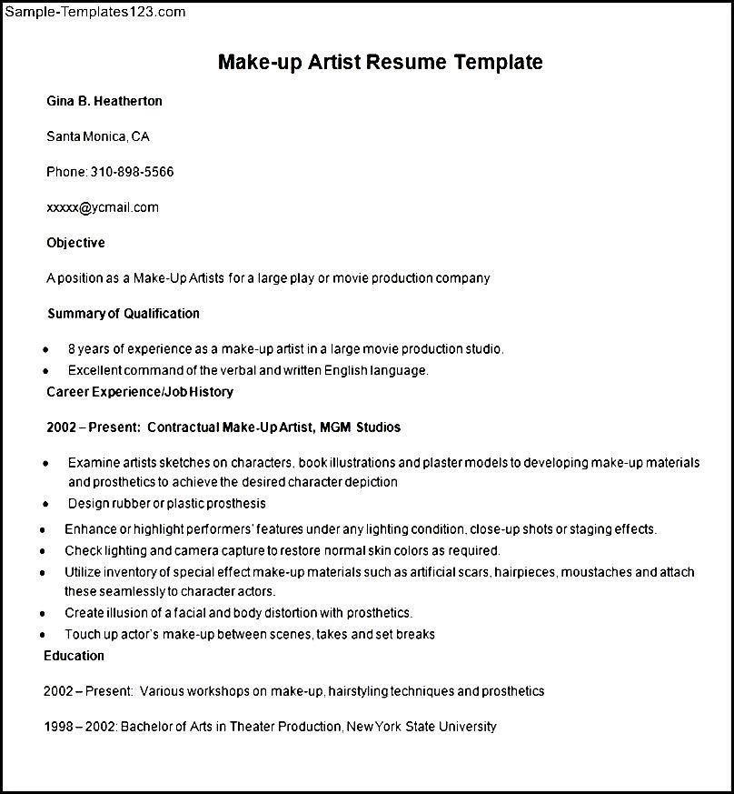 makeup artist objective resume sle
