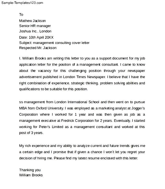 Consulting Cover Letter Template