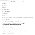 Sample Marketing Manager Resume Template