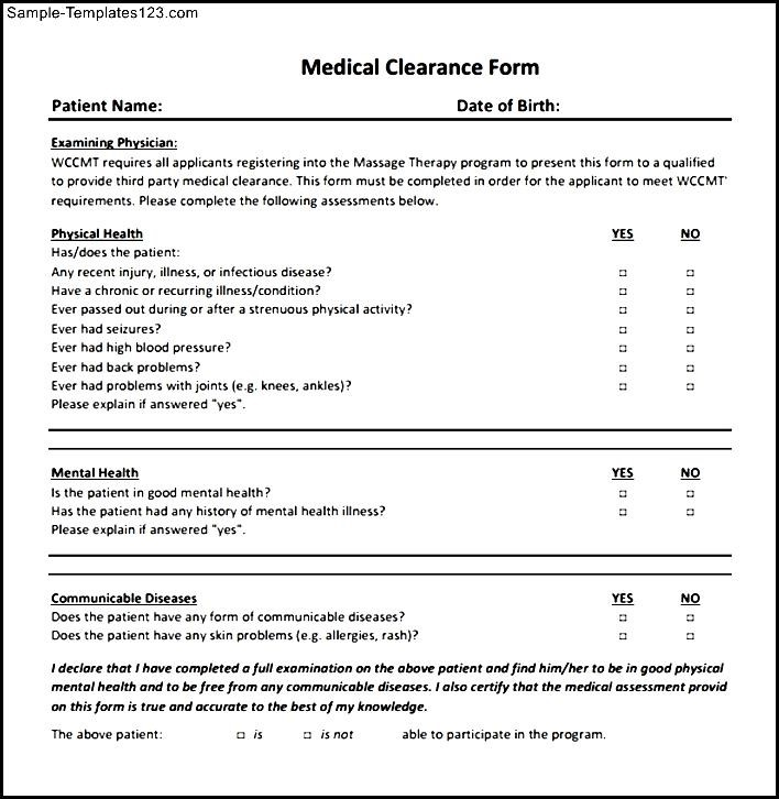 Amazing sample medical clearance form gallery top resume sample medical clearance form pronofoot35fo Images