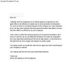 Sample Notice Resignation Letter