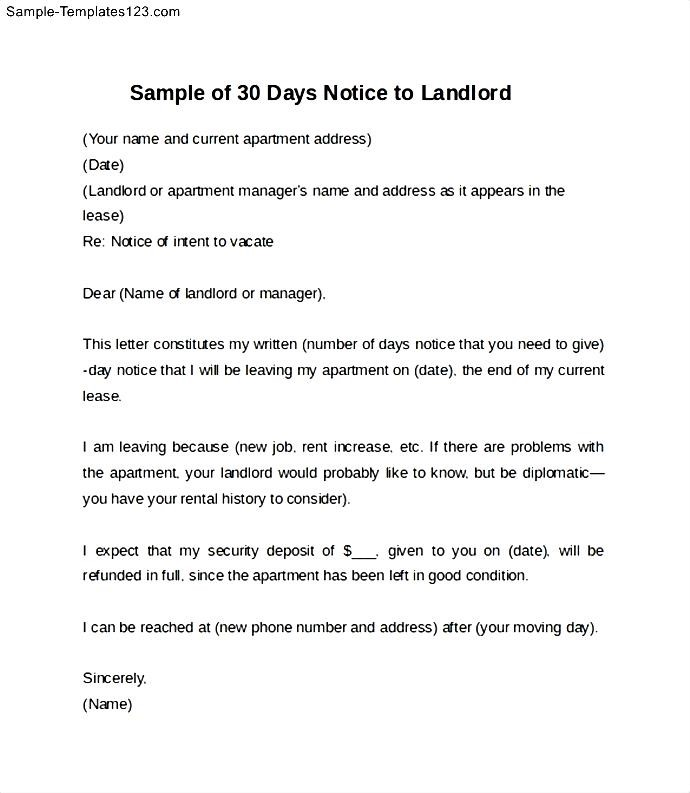28 days notice to vacate letter example textpoems sample of 30 days notice letter to landlord templates thecheapjerseys Gallery