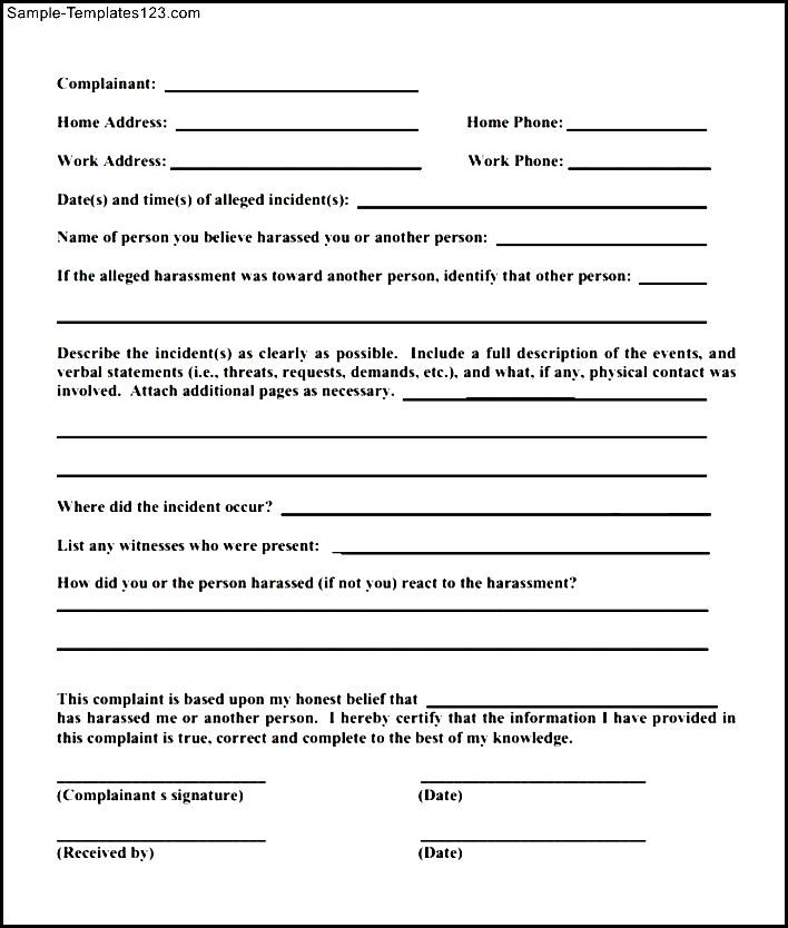 Modern Sample Harment Complaint Form Image - Administrative ... on employee emergency contact form template, sample employee survey form, employee referral form template, new employee information form template, sample employee handbook template, sample grievance letter to employer, sample employee master schedule template,