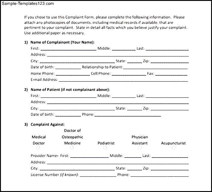 sample patient complaint form