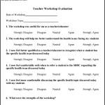 Sample Printable Work Shop Evaluation Template
