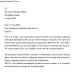 Sample Proof of Employment Letter for Visa