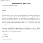 Sample Recommendation Letter for Colleague Template Printable