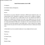 Sample Recommendation Letter for MBA Free Editable