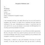 Sample Resignation Withdrawal Letter