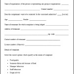 Sample Restaurant Complaint Form