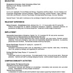 Sample Resume University Career