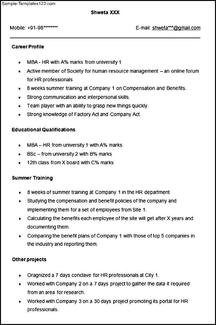 sample resume for hr fresher  sample templates  sample