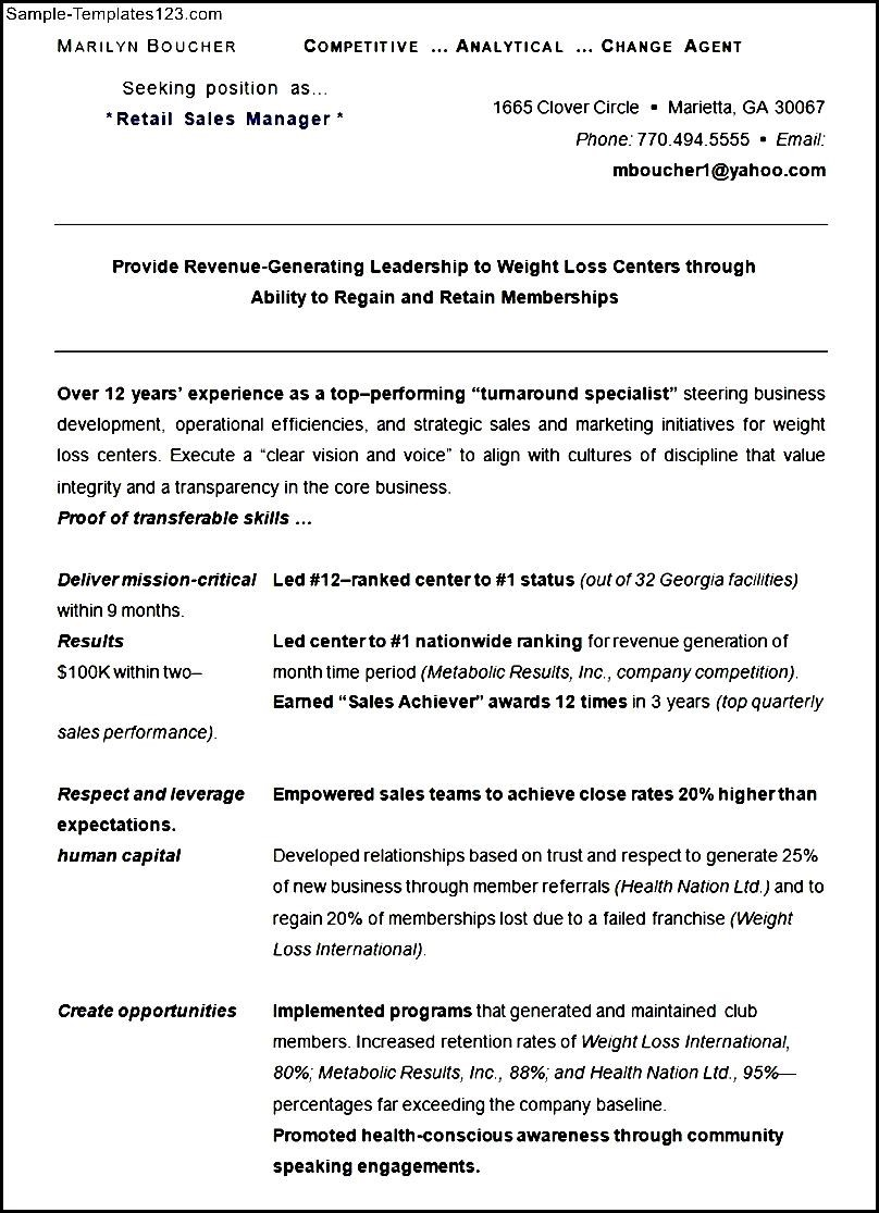 Sample Retail Sales Manager Resume CV Template #0: Sample Retail Sales Manager Resume CV Template
