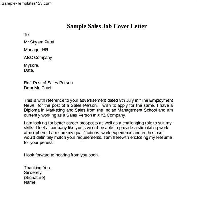 sample sales job cover letter example sample templates
