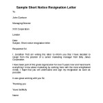 Sample Short Notice Resignation Letter