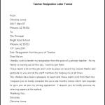 Sample Teacher Resignation Letter Format