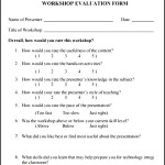 Sample Work Shop Evaluation Form