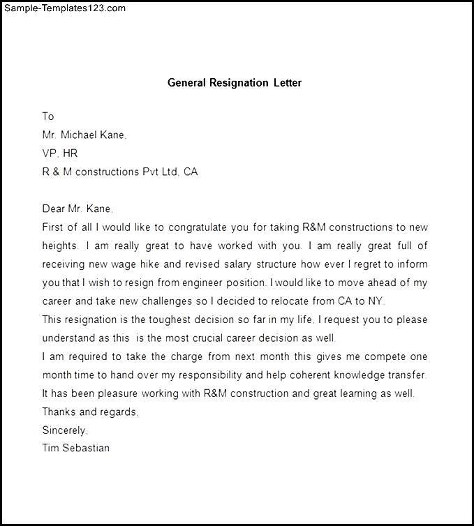 Sample Of General Resignation Letter