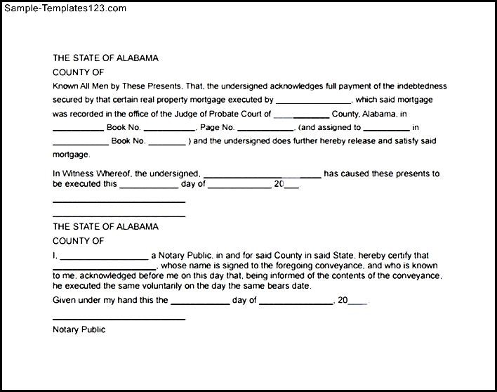 Satisfaction Of Mortgage Form To Download  Sample Templates