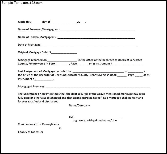 Awesome Satisfaction Of Mortgage Form