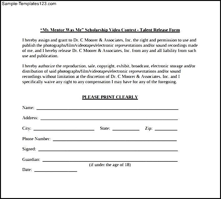 Scholarship Talent Release Form