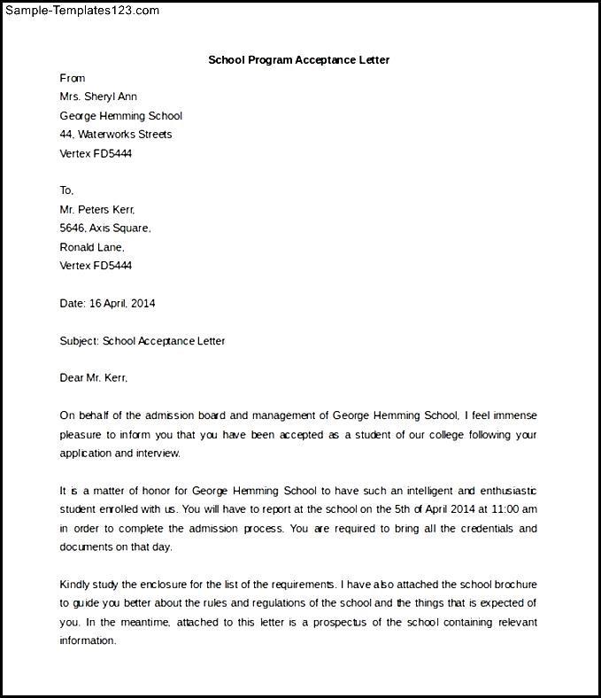 School Program Acceptance Letter Template Example Download