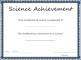 Science Achievement Certificate Template