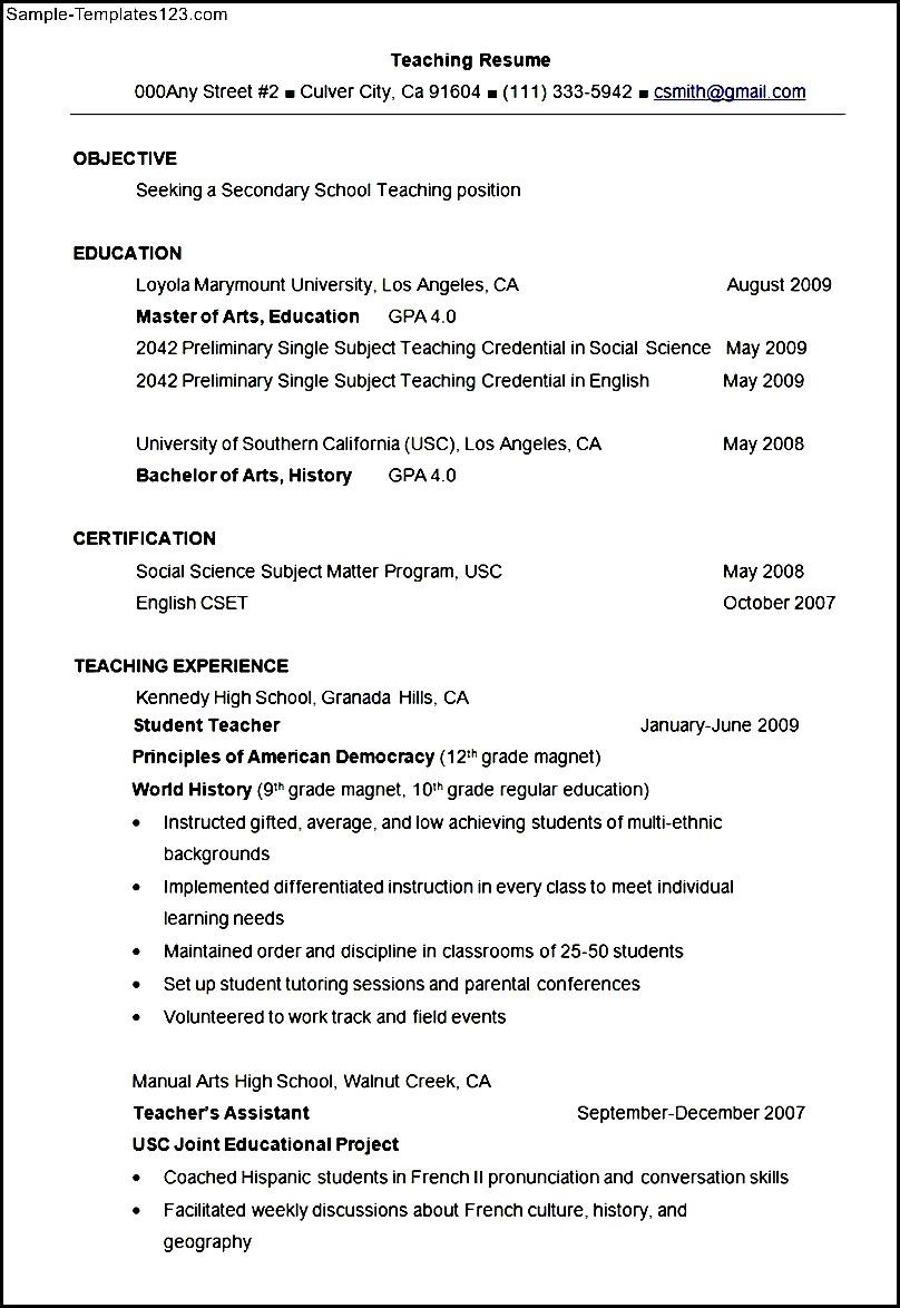 secondary teacher resume example template  sample