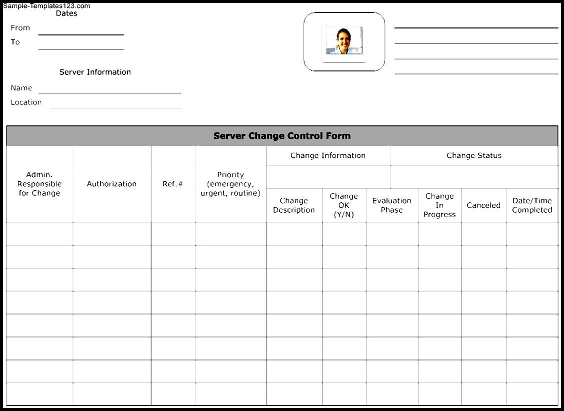 Server Change Control Form Template Sample Templates