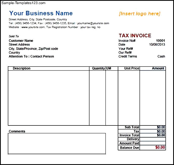 service invoice template download free