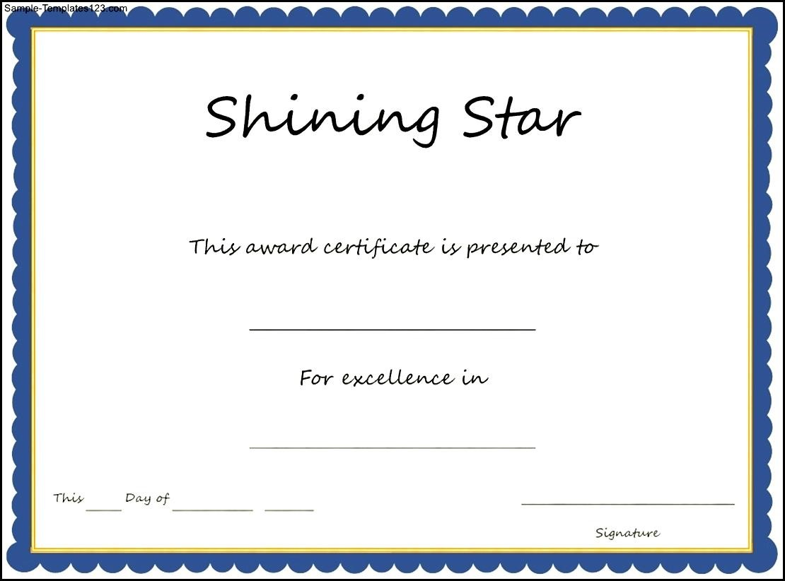 Star Certificate Templates  Name A Star Certificate Template
