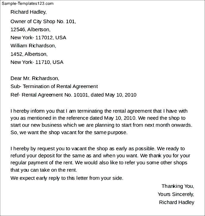 Shop Rental Agreement Termination Letter Sample Templates Sample