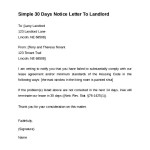 Simple 30 Days Notice Letter To Landlord