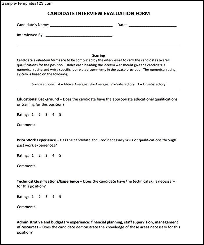 Simple interview evaluation form sample templates sample templates simple interview evaluation form maxwellsz